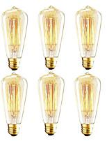 abordables -OYLYW 6pcs 40W E26 / E27 ST64 2200k Ampoule incandescente Edison Vintage 110-130V 220-240V