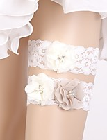 cheap -Chiffon Lace Elegant Wedding Wedding Garter 617 Rhinestone Lace Ruffle Garters Wedding Party Evening