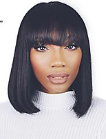 cheap -Unprocessed Human Hair Wig Brazilian Hair Straight Short Bob Bob Haircut 130% Density With Bleached Knots With Bangs 100% Hand Tied For