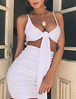 abordables -Femme Chic de Rue Moulante Robe - Dos Nu, Couleur Pleine Mini