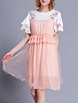 Недорогие -Жен. Вспышка рукава Блуза Платья - Плиссировка, Однотонный