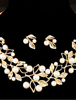 cheap -Women's Rhinestone Imitation Pearl Floral Jewelry Set 1 Necklace Earrings - Floral Sweet Leaf Gold Silver Jewelry Set For Wedding Party