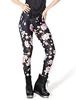 baratos -Mulheres Diário Básico Legging - Floral, Estampado Cintura Média