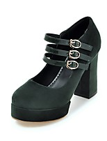 cheap -Women's Shoes Nubuck leather Spring / Fall Comfort Heels Chunky Heel Round Toe Buckle Black / Red / Green / Party & Evening