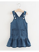 cheap -Girl's Daily Holiday Solid Colored Dress, Cotton Summer Sleeveless Basic Blue