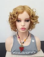Недорогие -Парики из искусственных волос Кудрявый Боковая часть Искусственные волосы Жаропрочная / С Bangs Блондинка Парик Жен. Средняя длина Парик