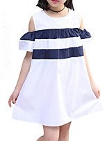 cheap -Girl's Daily Holiday Solid Colored Striped Dress, Cotton Polyester Summer Short Sleeves Cute Active White Navy Blue