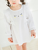 cheap -Girl's Daily Geometric Dress, Polyester Spring Long Sleeves Basic White Blushing Pink Gray