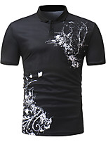 cheap -Men's Chinoiserie Street chic Polo - Floral Color Block Black & White, Print