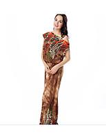 Недорогие -Жен. Классический Богемный Шифон Платье - Однотонный Цветочный принт Макси