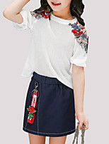 cheap -Girls' Daily Floral Clothing Set, Polyester Summer Short Sleeves Active White Blushing Pink