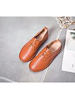 abordables -Femme Chaussures Cuir Printemps Automne Confort Oxfords Talon Plat pour Noir Amande Brun claire