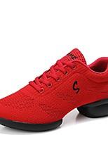 cheap -Women's Dance Sneakers Knit Split Sole Sneaker Outdoor Low Heel White Black Red 1 - 1 3/4inch Customizable