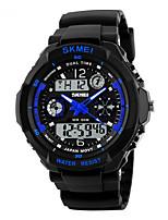 Недорогие -SKMEI Муж. Повседневные часы Спортивные часы электронные часы Японский Цифровой Pезина Черный 30 m Защита от влаги Будильник С двумя часовыми поясами Аналого-цифровые На каждый день -  / Один год