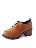 abordables -Femme Chaussures Polyuréthane Automne Hiver Confort Oxfords Talon Bottier Bout rond pour Noir Marron