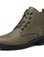 baratos -Mulheres Sapatos Couro Ecológico Outono Inverno Coturnos Botas Salto de bloco Botas Curtas / Ankle para Preto Verde Tropa Camel
