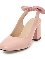 cheap -Women's Shoes Leatherette Spring / Fall Slingback Heels Chunky Heel Closed Toe Black / Pink / Almond / Party & Evening