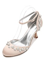 cheap -Women's Shoes Satin Spring Summer D'Orsay & Two-Piece Comfort Wedding Shoes Kitten Heel Pearl Imitation Pearl for Wedding Party & Evening