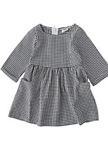 cheap -Girl's Daily Check Dress, Cotton Spring Fall Long Sleeves Cute Black
