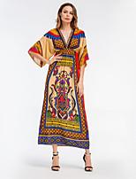 abordables -Femme Basique Mousseline de Soie Balançoire Robe Géométrique Maxi