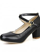 cheap -Women's Shoes Leatherette Spring / Fall Comfort / Novelty Heels Chunky Heel Round Toe Buckle Black / Beige / Pink / Party & Evening