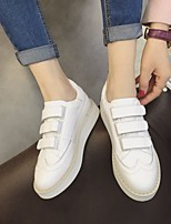 cheap -Women's Shoes Cowhide Spring Fall Comfort Sneakers Flat Heel Round Toe for White Black