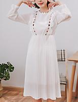 abordables -Femme Ample Courte Robe Géométrique Midi Noir