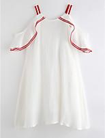 Недорогие -Девичий Платье Повседневные Хлопок Однотонный Лето Без рукавов Очаровательный Классический Белый
