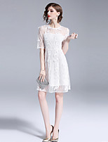 cheap -SHIHUATANG Women's Vintage Street chic A Line Dress - Solid Colored, Embroidered