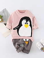 cheap -Unisex Daily School Print Clothing Set, Cotton Spring Summer Long Sleeves Active Blushing Pink Yellow