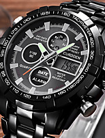 cheap -Men's Quartz Fashion Watch Chinese Alarm Calendar / date / day Large Dial Stopwatch Cool Word / Phrase Stainless Steel Band Luxury Cool