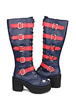 baratos -Sapatos Gótica Punk Góticas Punk Salto Alto Retalhos Estrelas 10cm CM Tinta Azul Para Couro PU / Couro de Poliuretano