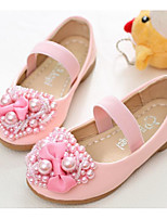 cheap -Girls' Shoes PU Spring Fall Flower Girl Shoes Flats for Casual White Pink