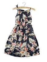 cheap -Girl's Daily Going out Floral Dress, Cotton Polyester Summer Sleeveless Cute Boho Navy Blue