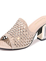 cheap -Women's Shoes Sparkling Glitter Tulle Summer Fall Basic Pump Gladiator Slippers & Flip-Flops Chunky Heel for Casual Party & Evening Gold