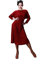 cheap -Latin Dance Dresses Women's Training Modal Crystals / Rhinestones 3/4 Length Sleeves Natural Dress