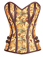 cheap -Steampunk Costume Women's Corset Yellow Vintage Cosplay Polyster Sleeveless