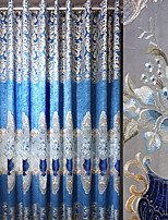 cheap -Curtains Drapes Living Room Contemporary Cotton / Polyester Embroidery