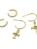 cheap -Women's Cross Rhinestone 4pcs Drop Earrings / Clip Earrings - Casual / Fashion Gold Circle Earrings For Gift / Date