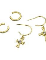 abordables -Femme Croix Strass 4pcs Boucles d'oreille goutte / Clips - Décontracté / Mode Or Forme de Cercle Des boucles d'oreilles Pour Cadeau /