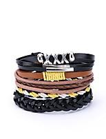 cheap -Men's Leather Oversized 4pcs Wrap Bracelet - Casual Oversized Irregular Black Bracelet For Gift Daily