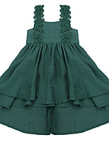 cheap -Girl's Daily Holiday Solid Colored Dress, Cotton Polyester Summer Sleeveless Cute Active Blue Green
