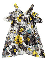 cheap -Girl's Daily Holiday Floral Dress, Cotton Polyester Summer Short Sleeves Cute Active Navy Blue Gray