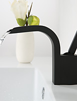 cheap -Faucet Set - Waterfall Widespread Black Deck Mounted Single Handle One Hole
