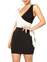 baratos -Mulheres Moda de Rua Tubinho Bainha Vestido - Vazado Patchwork, Estampa Colorida Mini
