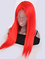 cheap -Remy Human Hair Wig Brazilian Hair Straight 130% Density With Baby Hair With Bleached Knots Natural Hairline Red Short Long Women's Human