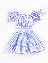 cheap -Girls' Holiday Print Clothing Set, Polyester Summer Short Sleeves Cute Light Blue
