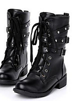 cheap -Women's Shoes PU Spring Winter Comfort Boots Chunky Heel for Black