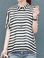 cheap -Women's Basic Street chic Blouse-Striped
