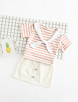 cheap -Girls' Daily Solid Colored Clothing Set, Polyester Summer Short Sleeves Cute Blushing Pink Light Blue